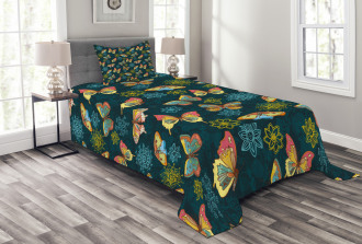 Butterflies and Flowers Bedspread Set