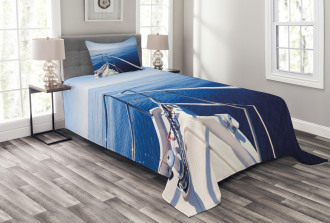 Boat Yacht Ocean Scenery Bedspread Set
