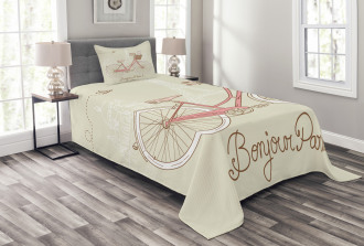 Postcard from Paris Bicycle Bedspread Set