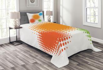 Colorful Half Tone Circles Bedspread Set