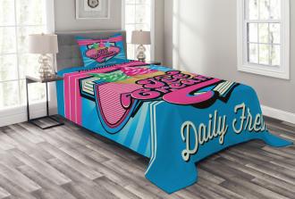 Ice Cream Illustration Bedspread Set