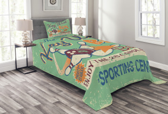 Vintage Bowling Poster Bedspread Set