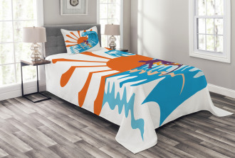 Hot Beach Vibes Surfer Bedspread Set