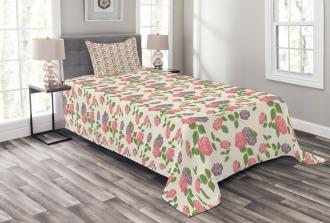 Garden Flowers Roses Bedspread Set