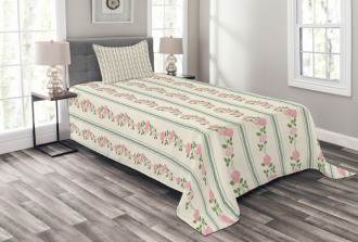 Flower Roses Buds Swirls Bedspread Set