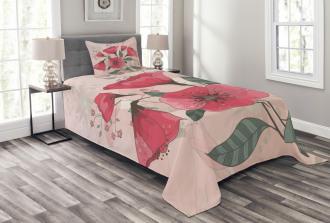 Pink Romantic Flowers Bedspread Set