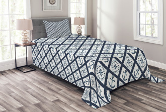 Anchor Windrose Icons Bedspread Set