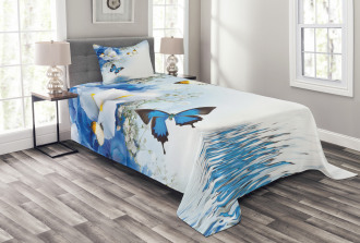 Exotic Flowers Pond Bedspread Set