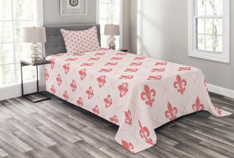 Checkered Fleur De Lis Bedspread Set