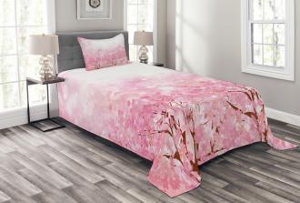 Romatic Sakura Tree Bedspread Set