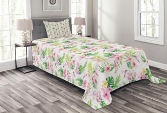 Hawaiian Hibiscus Leaves Bedspread Set