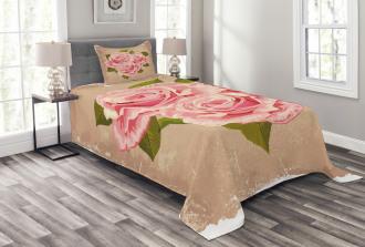 Pink Bouquet of Flowers Bedspread Set