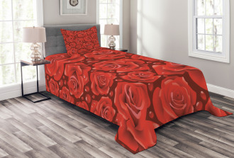 Red Roses Water Rain Drops Bedspread Set