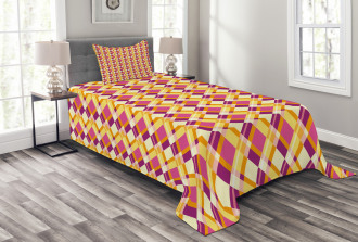 Crosswise Lines Retro Bedspread Set