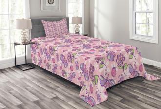Butterfly Cartoon Style Bedspread Set