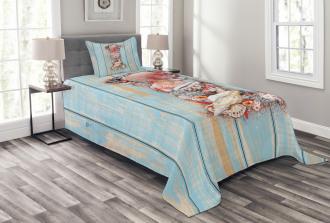 Wooden Surface Ocean Bedspread Set