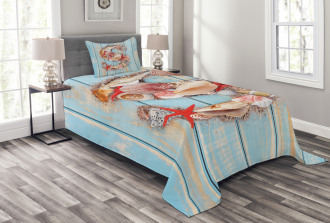 S Seashells Nautical Bedspread Set