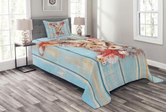 Aqua Typography Design Bedspread Set