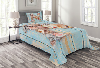 Ocean Seashells ABC Bedspread Set
