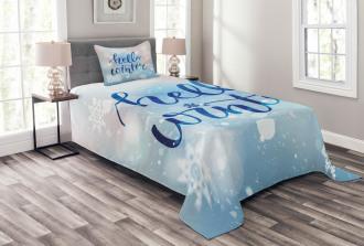 Hello Winter Quote Snow Bedspread Set