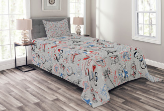 France Icons City of Love Bedspread Set