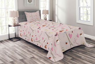 French Flag Popular Icons Bedspread Set