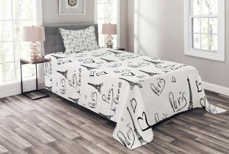 Eiffel Je T'aime Doodle Bedspread Set