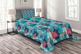 Crockery Silhouettes Bedspread Set