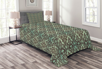 Leaves Buds Ornate Style Bedspread Set