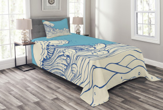 Abstract Doodle Wave Bedspread Set