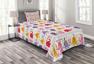 Dancing Floral Elephants Bedspread Set