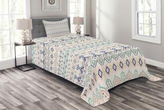 Aztec Motifs Squares Bedspread Set