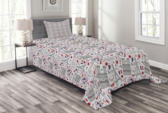 French Travel Pattern Bedspread Set