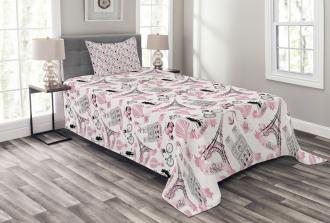 Love in Paris Bridal Pink Bedspread Set