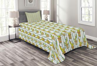 Vertical Lines Flowers Bedspread Set