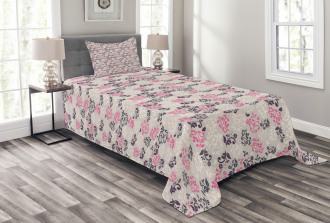Floral Arrangement Motif Bedspread Set