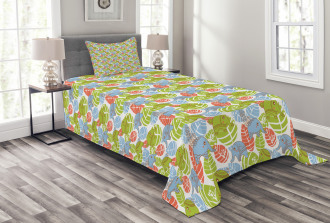 Asian Animals Leaves Bedspread Set