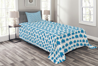 Blue Animal Kids Theme Bedspread Set