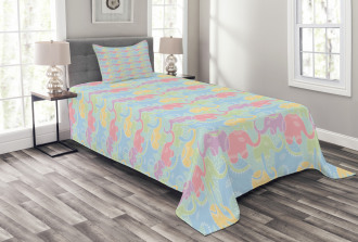 Abstract Asian Floral Bedspread Set
