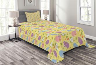 Mascot Animals Playful Bedspread Set