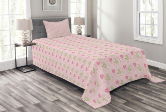 Dots Hearts Checkered Bedspread Set