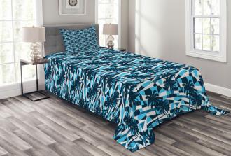 Geometric Blue Shades Bedspread Set