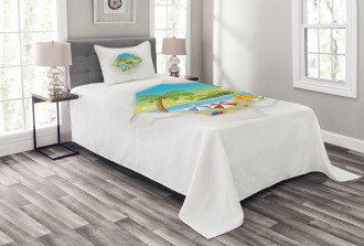 Tropical Elements Ocean Bedspread Set