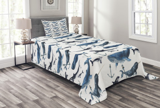 Orcas and Blue Whales Bedspread Set