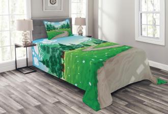 Pathway among Pine Trees Bedspread Set