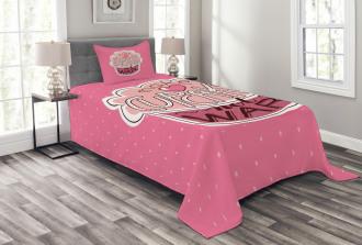Make Cupcakes Dots Bedspread Set