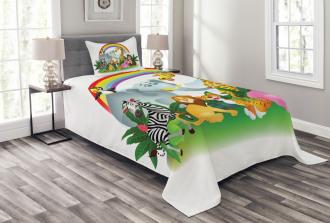 Animals Under Rainbow Bedspread Set