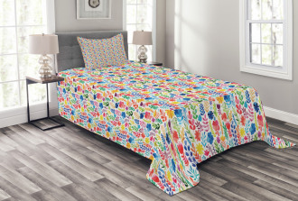 Tulips Roses and Pansies Bedspread Set