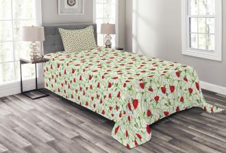 Twiggy Poppy Flowers Bedspread Set