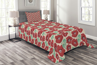 Watercolor Effect Poppy Bedspread Set